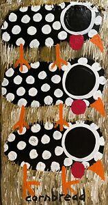 "John ""Cornbread"" Anderson Original Guineas Contemp Folk Outsider Art Painting"