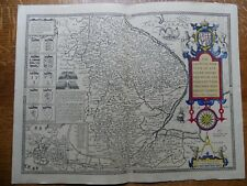 John Speed Map Countie & Citie of Lyncolne Arms Noble Families / Norfolk 1610