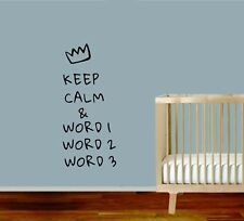Keep Calm Quote Custom Personalized Own Word Wall Stickers Vinyl Home Decor DIY