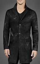 $4500 John Varvatos Black Leather Trench Coat Cracked Snake Like Long Jacket 56
