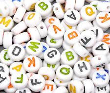 """500/1500/2500/5000 Weiß Rund Buchstaben """"A-Z"""" Acryl Spacer Perlen Beads 7mm"""