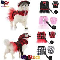 Pet Dog Outdoor Reflective Leash + Princess Harness Vest +No-Pull Harness Hat US