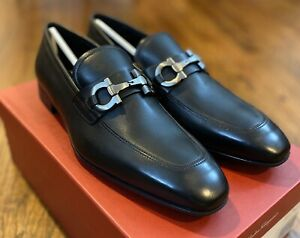 Salvatore Ferragamo Giant 2 Mens Gancini Black Dress Shoes Size 7.5 EEE NIB