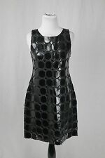 Kate Spade Black Silk Dress With Patent Leather Octagon Size 4