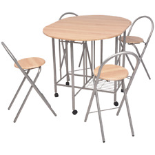 Folding Table Chairs Set Dining Kitchen Portable Castors Storage Student Small