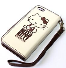 For iPhone 5C - Sanrio HELLO KITTY LEATHER ID CARD WALLET POUCH SKIN CASE BROWN