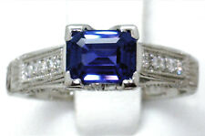 GORGEOUS PLATINUM $13,500 GIA CERT VVS 1.65ct ROYAL BLUE SAPPHIRE & DIAMOND RING