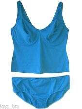 Blue Underwired Tankini Set UK Dress Size 28 & B Cups built in bra No Padding