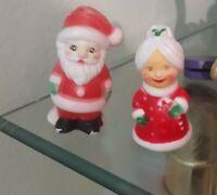 "Vintage Mr. & Mrs. Santa Claus 3"" Plastic Salt & Pepper Shakers with Stopper's"