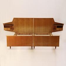 Letto modernista con comodini integrati anni 50, gio ponti style