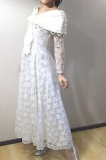 Scott McClintock white off-shoulder lace boho dress maxi sleeve corset wedding