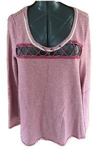 Free People Womans Medium Pink White Pinstriped Shoe Lace Front Sweat Shirt