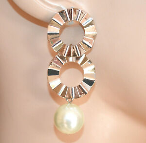 PENDIENTES mujer PLATA perla blanca aros colgantes woman silver earrings CC23