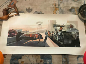 """LARGE Syd Mead 32x16"""" US Steel 1960s Futurist poster highway"""