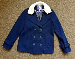 """BY HENRY HOLLAND Dark Blue Coat  Size 12 Pit to Pit 18"""" Autumn Winter Warmth"""
