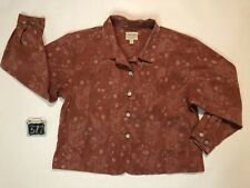 Cabela's Red Western Floral Paisley Jacket Women's XL Reg Silver Buttons Pockets
