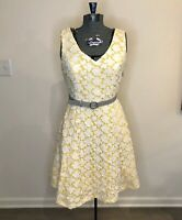 Modcloth A-line Yellow Retro  Flare Pin Up Dress Small Midi Made In USA