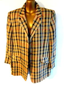 DAKS Signature UK16 Silk & linen classic check ladies single breast jacket (3514
