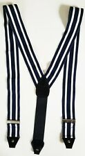 Vintage DAKS white and navy striped SUSPENDERS braces made in ENGLAND
