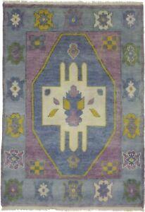 Blue & Purple Floral Tribal Modern Design 4X6 Royal Oushak Oriental Rug Carpet