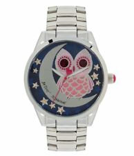 New Womens Betsey Johnson Stainless Steel Band Owl Watch BJ00495-30 $69