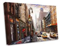 New York Oil Street Scene Canvas Wall Art Picture Print