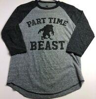 Disney Parks Part Time Beast Women's ¾ Raglan Sleeve T Shirt Small S Gray Crew