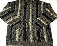 Vtg 90s Protege Collection Mens Sweater 3D Knit Beige Black Biggie Cosby Size L
