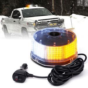 Round Beacon LED Rooftop Strobe Light Flashing Emergency Warning White Amber