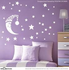 WHITE - Moon Stars Children Baby Nursery Vinyl Wall Decal Stickers S1