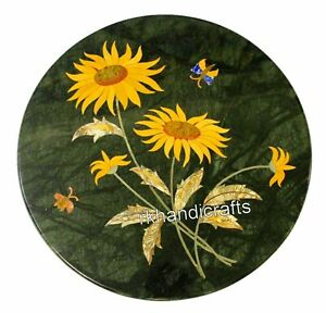 Sunflower Design Inlaid Sofa Side Table Top Green Marble Coffee Table 13 Inches