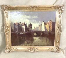 Large Framed German Impressionist Oil Painting Hein Hoppmann Canal Landscape