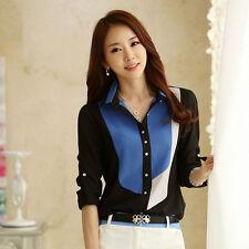 Fashion Womens Slim Long Sleeve Print Chiffon T Shirt Blouses Tops Elegant