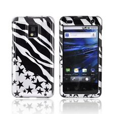 For LG T-Mobile G2X Protector Hard Case Snap on Phone Cover Silver Star Zebra