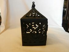 Square Black Metal Hanging Votive Candle Holder with Open Filigree Design