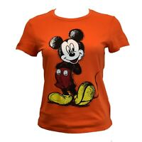 DISNEY Junior's T-shirt Top - MICKEY MOUSE - Disneyland Parks Orange Tee NEW