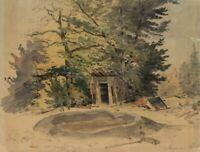 Anton DOLL (1826-1887), Bretterbude im Wald, Aquarell auf Papier