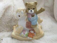 "Babys Child Ceramic Rocking Horse Teddy Bear Dolly Night Light Table Lamp 5""x6"""