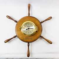 Benchmark Ships Bell Quartz Clock Brass and Maple Wood Vintage 17in Diameter