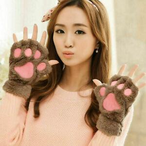 Fluffy Bear Dog Paw Ladies Kid's Plush Fleece Fingerless Gloves Mittens Cosplay