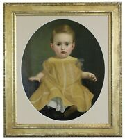 """Vintage 20th Century Portrait of a Child Oil Painting Formal Baby Girl Oval 31"""""""