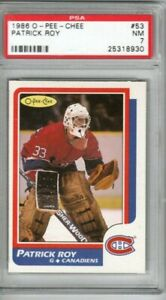 PATRICK ROY 1986-87 O-Pee-Chee ROOKIE PSA 7 Montreal Canadiens Hot Near Mint RC