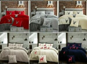 Teddy Bear Fleece STAG Embraided Duvet Cover Thermal Soft Bedding Throws Cushion