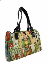 """DOCTOR BAG SATCHEL BAG STYLE WITH """"FRIDA WITH PARROTS"""" PATTERN, COTTON, NEW"""