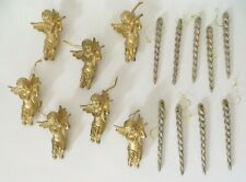 Lot of Gold Christmas Tree Ornaments Blow Mold Angels and Ice Cicles
