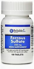 Reliable-1 Laboratories Ferrous Sulfate 325 mg, Iron supplement 100 ea (2 pack)
