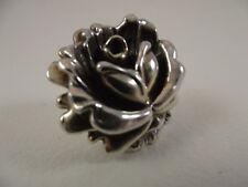 Modernist ISRAEL Signed GW Sterling Silver Rose Flower Ring Electrofoam 925