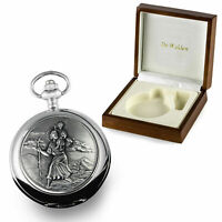 Boy's Christening Gift, Engraved St Christopher Mother of Pearl Pocket Watch