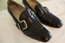 Womens Salvatore Ferragamo Brown Crocodile Leather With Gold Buckle Size 7.5 AA