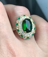 925 Sterling Silver Handmade Authetic Turkish Emerald Ladies Ring Size 7-9